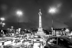 Bastille square, Paris. Black and white photo Stock Image