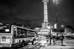 Bastille square, Paris. Black and white photo Stock Photography
