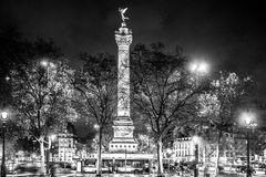 Bastille square, Paris. Black and white photo Royalty Free Stock Images