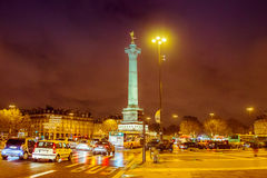 Bastille square, Paris. Night time Stock Photos