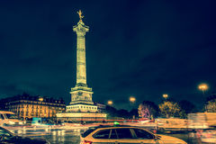 Bastille square, Paris. Place de la Bastille with golden angel (July Column) night time, Paris, France Stock Photos