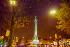 Bastille square, Paris. Place de la Bastille with golden angel (July Column) night time, Paris, France Stock Image