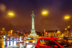 Bastille square, Paris. Place de la Bastille night time. Paris, France Royalty Free Stock Images