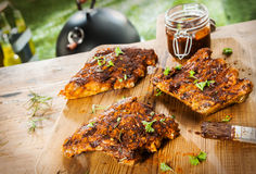 Basting and seasoning ribs for the BBQ royalty free stock photos