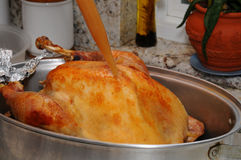 Basting a Thanksgiving Turkey Royalty Free Stock Image