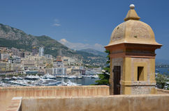 Bastion above Monaco harbor Royalty Free Stock Image