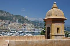 Bastion above Monaco harbor Royalty Free Stock Image