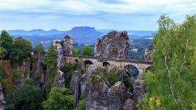 Bastion Bridge in Saxonia near Dresden royalty free stock photo
