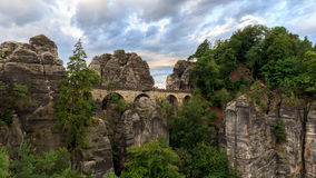 Bastion Bridge in Saxonia near Dresden Stock Photos