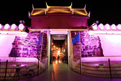 Bastion with gate entrance at night in Korat Royalty Free Stock Photography