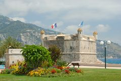 Bastion in port of Menton Stock Images