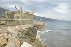 The Bastion and the port at Menton, France Stock Photo