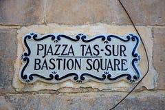 Bastion Square sign, Mdina. Royalty Free Stock Photos