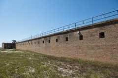 A bastion wall along the outside of Historic Fort Gaines in Dauphin Island Alabama. This is a view of the outside of a bastion wall at Fort Gaines in Dauphin Stock Images