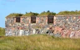 Bastion Zander på Kustaanmiekka i sydliga Suomenlinna Det byggdes mellan 1748 och 1750 som delen av kedjan av fyra bastioner royaltyfri fotografi