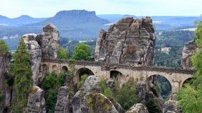 Bastionbro i Saxonia nära Dresden Fotografering för Bildbyråer