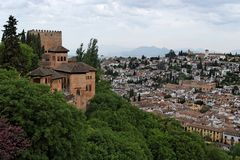 Bastions of Alhambra castle in Granada Stock Images