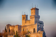 Bastions of crenellated tower overlooking the valley Royalty Free Stock Photography