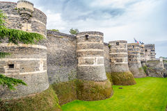 Bastions of fortress in Angers Stock Photos