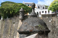 Bastions on Wall of San Juan. Two bastions along the history Wall of San Juan in Puerto Rico Stock Images