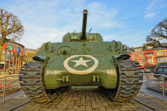 Bastogne Sherman tank on Place McAuliffe, Belgium Royalty Free Stock Photos