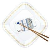 Bastoncini del piatto e cinque euro pacchetti Immagini Stock