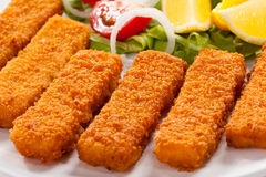 Bastoncini di pesci fritti Fotografia Stock Libera da Diritti