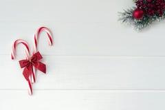 Bastoncini di zucchero e ramo di albero del nuovo anno Immagine Stock