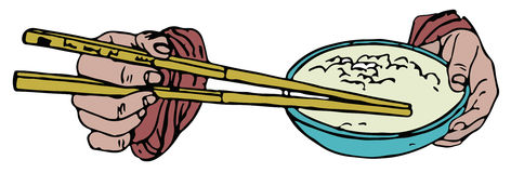 Bastoncini e ciotola di riso Fotografia Stock
