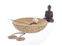 Bastoncino d'incenso del fiore della ciotola di Buddha Immagini Stock Libere da Diritti