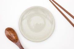 Bastoncino di legno giapponese tradizionale con il cucchiaio ed il briciolo di legno Fotografie Stock