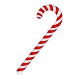 Bastoncino di zucchero barrato nei colori di Natale Illustrazione di vettore su un fondo bianco Fotografie Stock Libere da Diritti