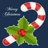 Bastoncino di zucchero & Holly Berry Christmas Card Fotografie Stock