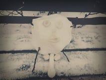 Bastone bianco freddo dell'uomo della neve Fotografia Stock