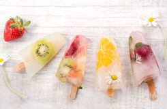 Bastone casalingo del ghiacciolo della frutta Fotografia Stock Libera da Diritti