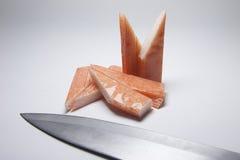 Bastone d'imitazione del granchio su fondo bianco Fotografie Stock