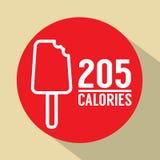 Bastone del gelato 205 calorie di simbolo Immagine Stock