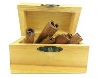 Bastone di cannella in scatola di legno Immagine Stock Libera da Diritti