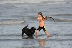 Bastone di lancio della bambina da inseguire nel mare Fotografie Stock