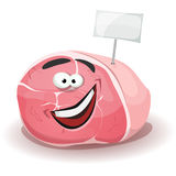 Bastone divertente di Ham Character With White Label Immagini Stock