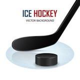 Bastone e disco di hockey su ghiaccio sulla pista di pattinaggio Vettore Immagine Stock
