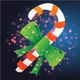 Bastone e nastro con il Natale fondo ed il vettore della cartolina d'auguri Illustrazione di Stock