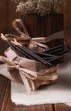 Bastoni del cioccolato in sacco di carta Fotografia Stock Libera da Diritti