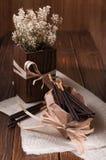 Bastoni del cioccolato sul tovagliolo Immagini Stock