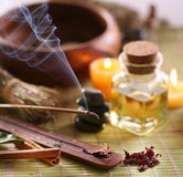 Bastoni dell'aroma nel salone della stazione termale Fotografie Stock Libere da Diritti