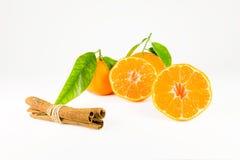 Bastoni di cannella e del mandarino Immagini Stock Libere da Diritti