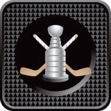 Bastoni di hokey del ghiaccio e trofeo sull'icona nera di Web illustrazione di stock