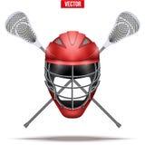 Bastoni di lacrosse ed etichetta del casco Fotografia Stock