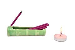 Bastoni e candela dell'aroma Immagini Stock