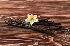 Bastoni e fiore della vaniglia su fondo fotografia stock libera da diritti